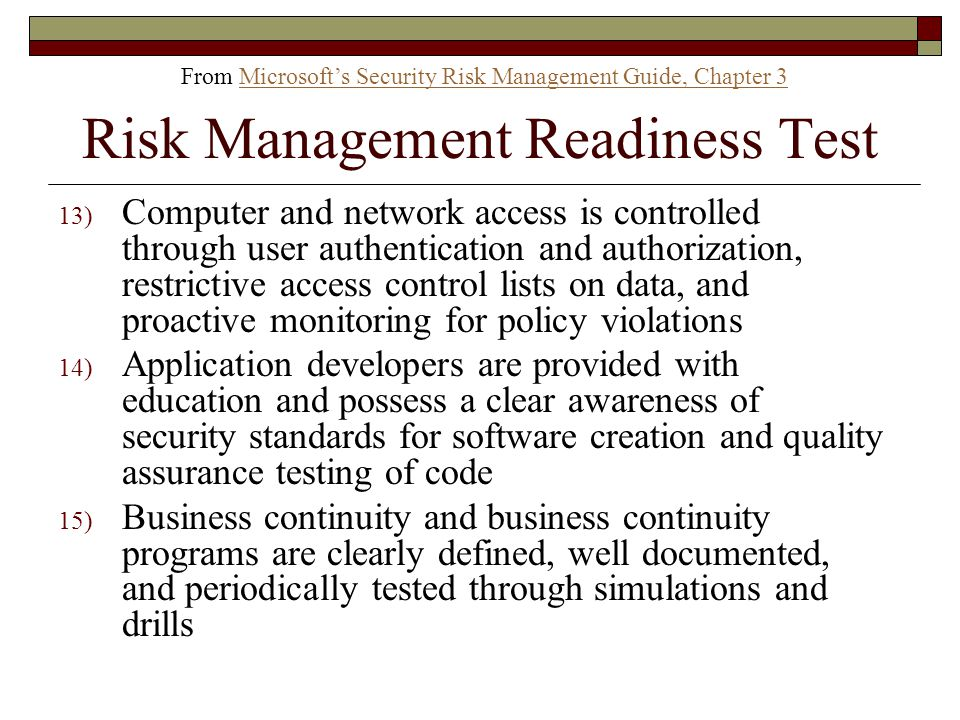 Risk Management Readiness Test