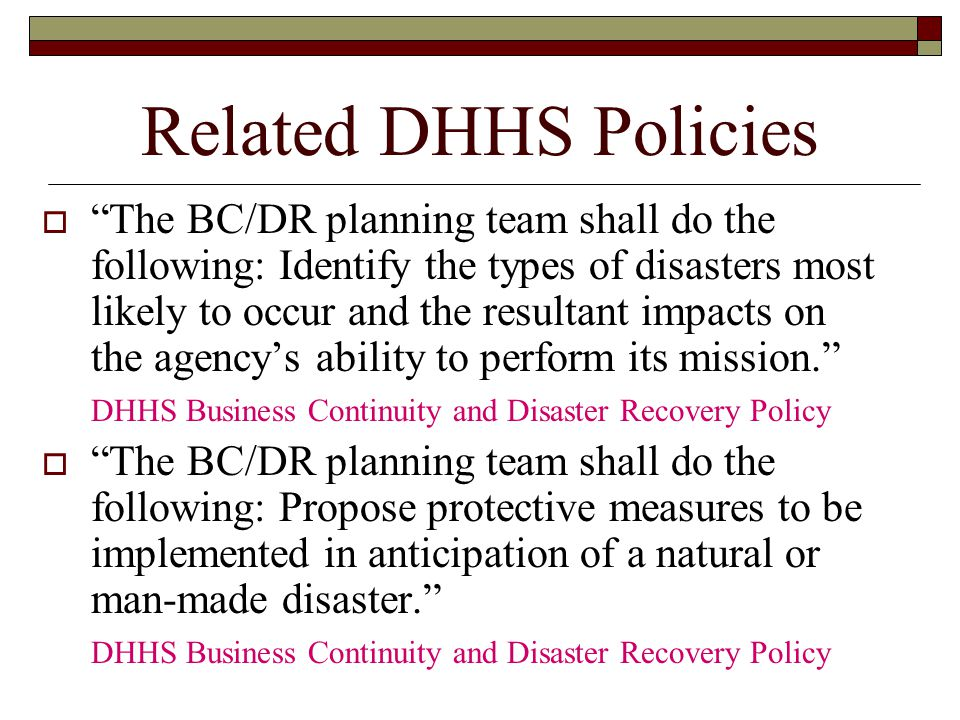 Related DHHS Policies