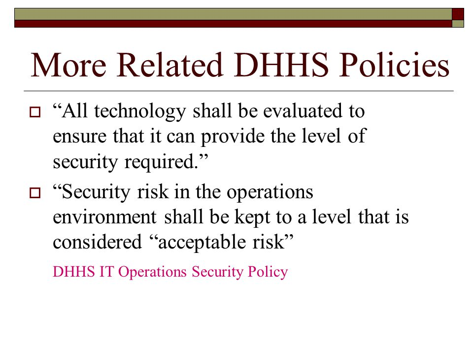 More Related DHHS Policies