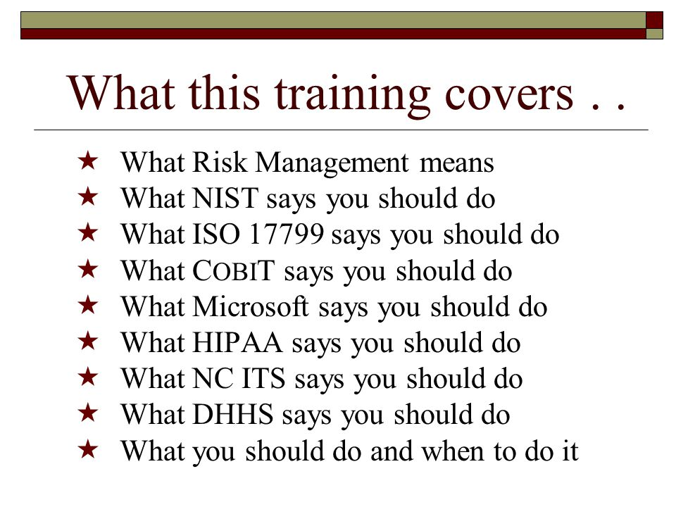 What this training covers . .