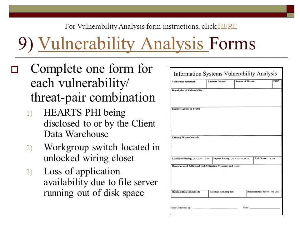 9) Vulnerability Analysis Forms