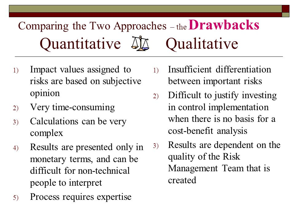 Comparing the Two Approaches – the Drawbacks Quantitative Qualitative