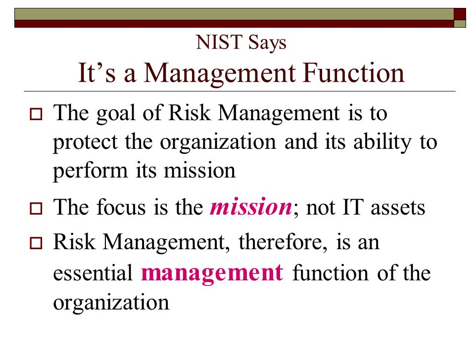 NIST Says It's a Management Function