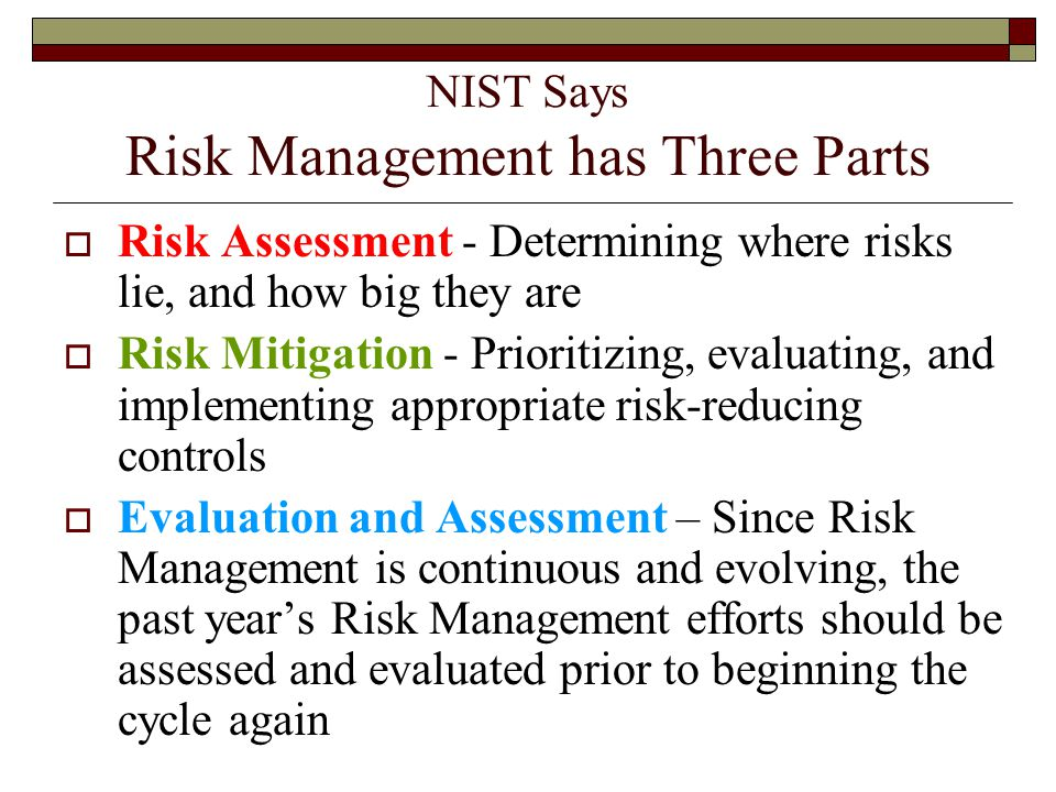 NIST Says Risk Management has Three Parts