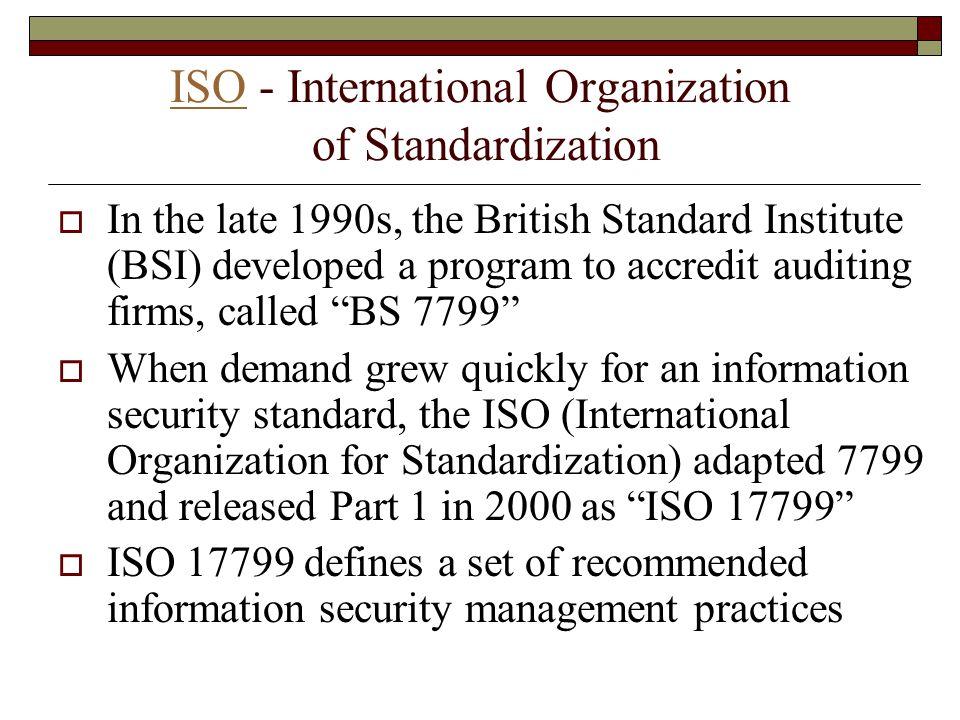 ISO - International Organization of Standardization
