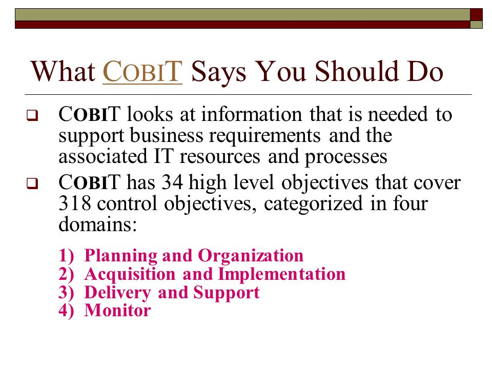 What COBIT Says You Should Do