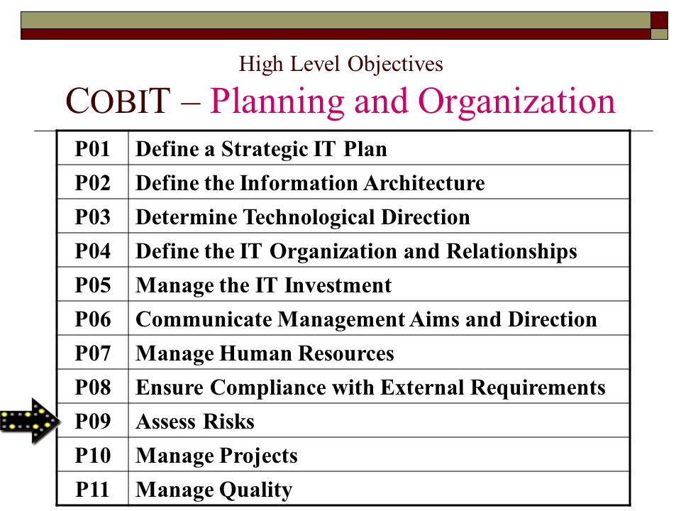 High Level Objectives COBIT – Planning and Organization
