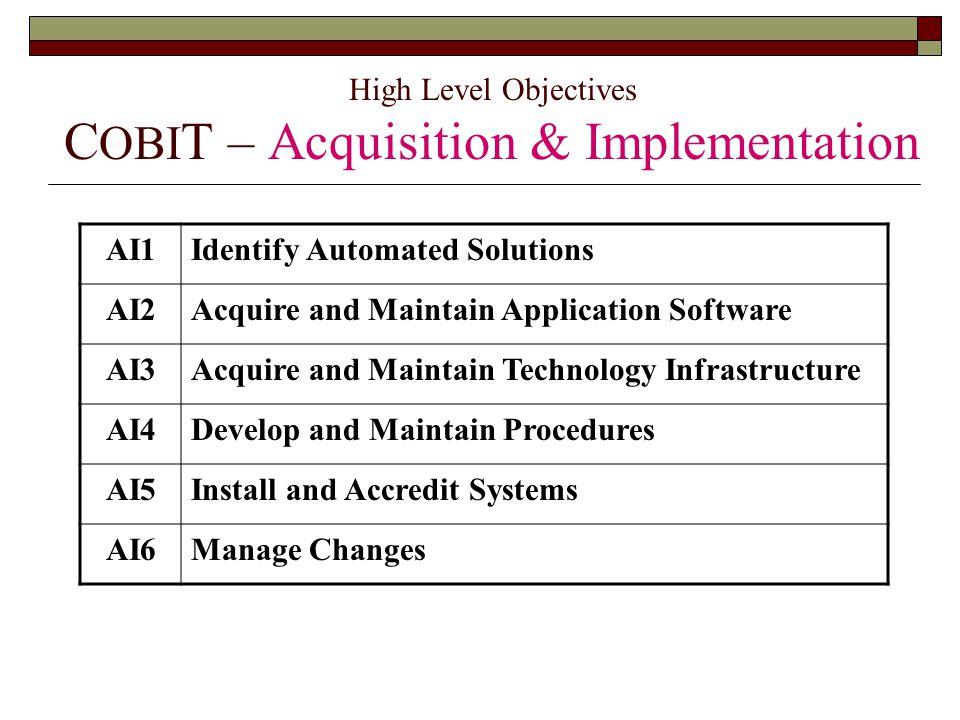 High Level Objectives COBIT – Acquisition & Implementation