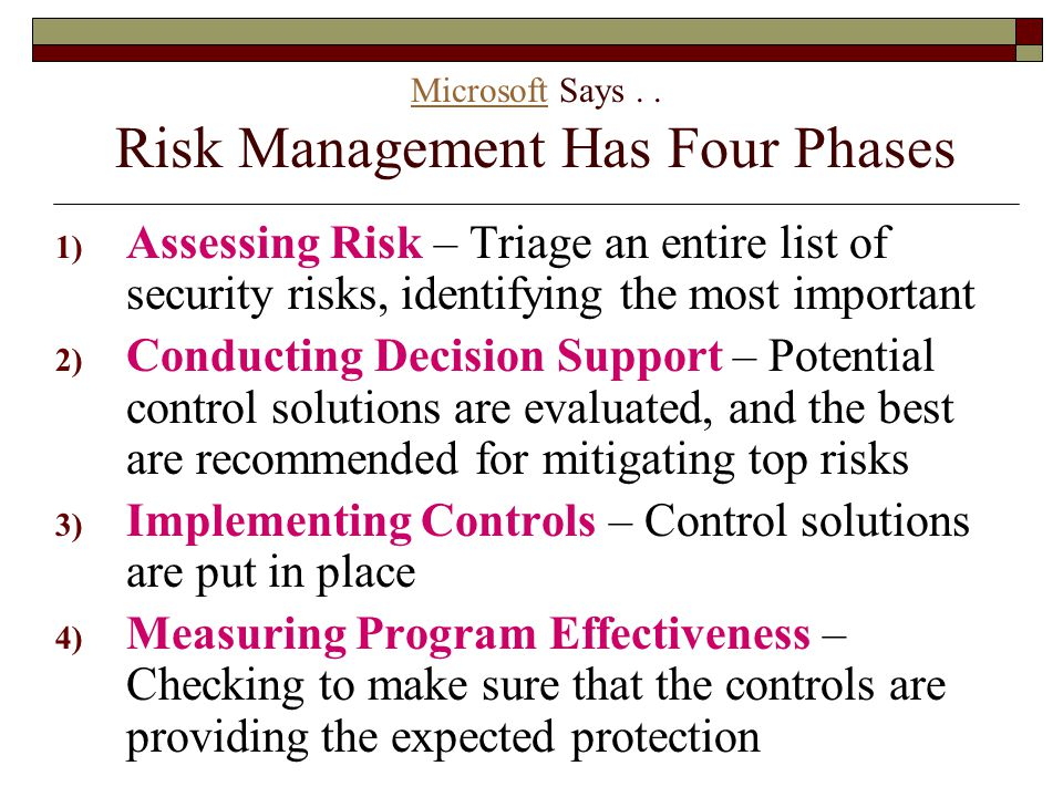 Microsoft Says . . Risk Management Has Four Phases