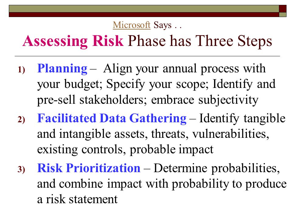 Microsoft Says . . Assessing Risk Phase has Three Steps