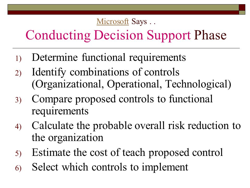 Microsoft Says . . Conducting Decision Support Phase