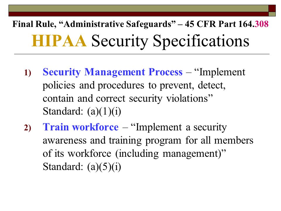 HIPAA Security Specifications