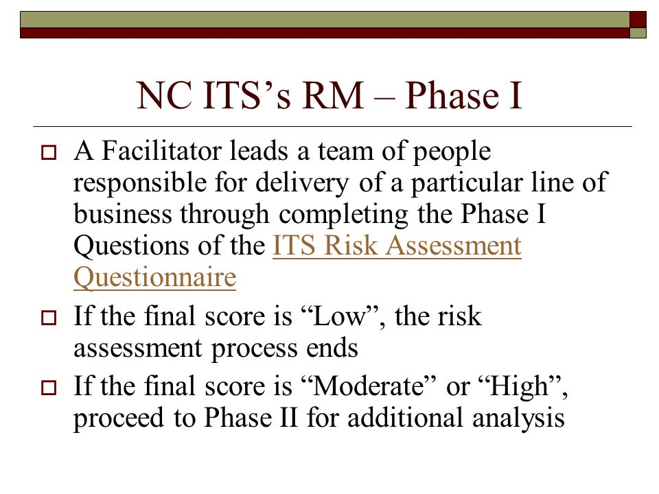 NC ITS's RM – Phase I