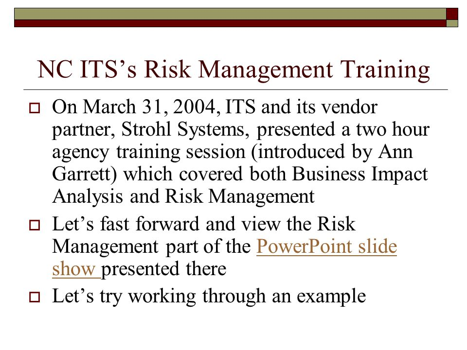 NC ITS's Risk Management Training
