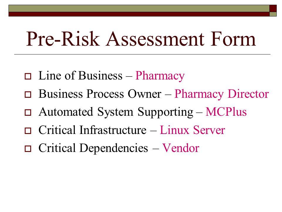 Pre-Risk Assessment Form