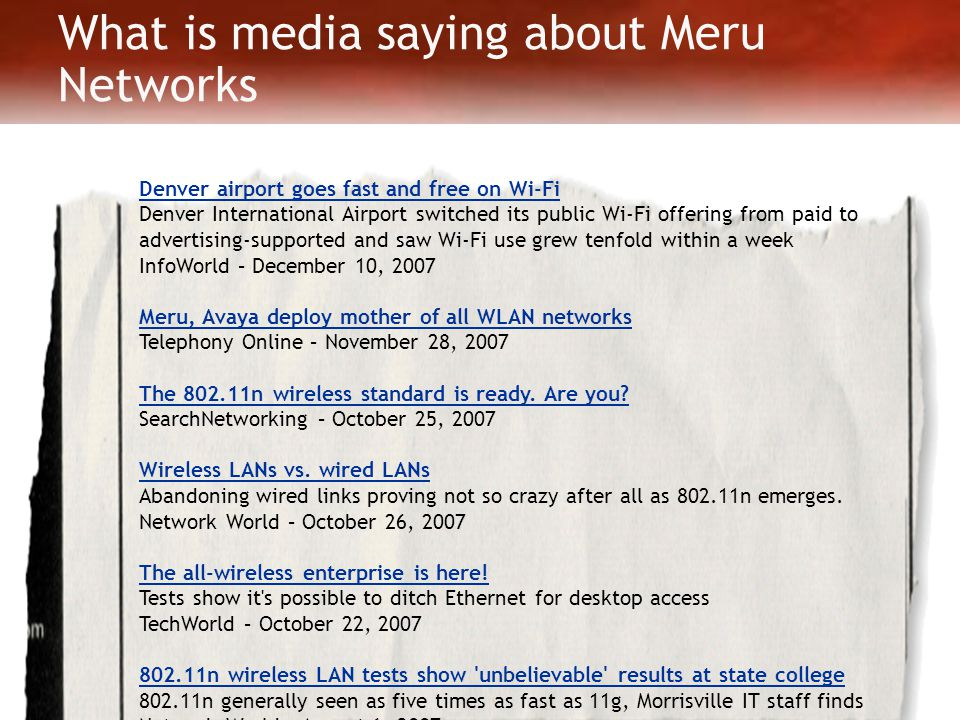 What is media saying about Meru Networks