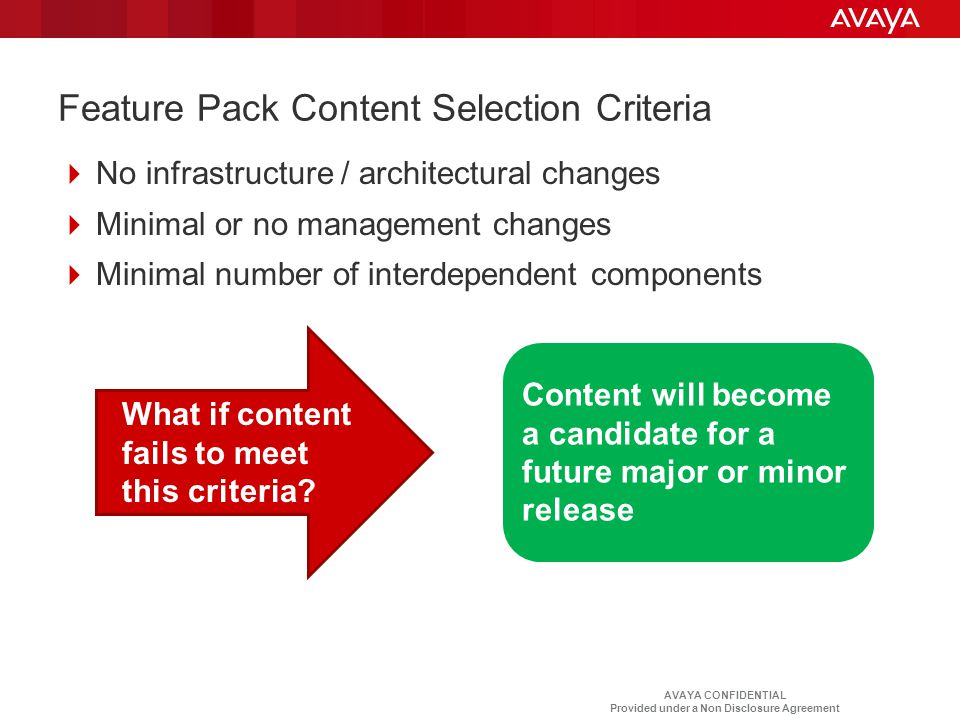 Feature Pack Content Selection Criteria