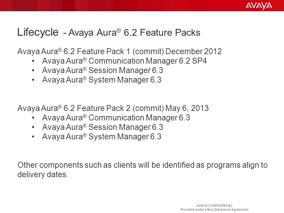 Lifecycle - Avaya Aura® 6.2 Feature Packs