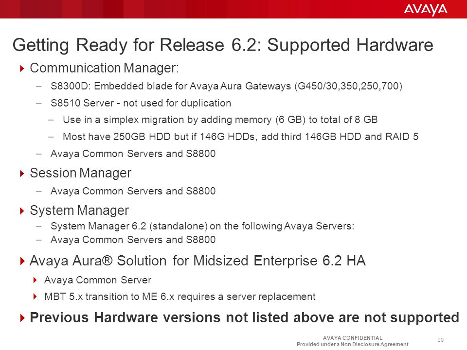 Getting Ready for Release 6.2: Supported Hardware