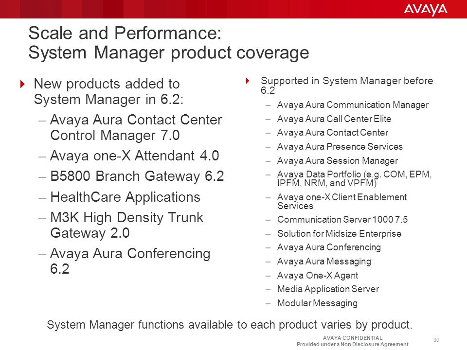 Scale and Performance: System Manager product coverage
