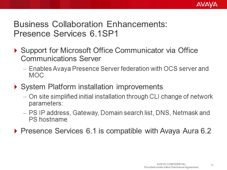 Business Collaboration Enhancements: Presence Services 6.1SP1