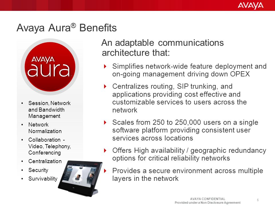 Avaya Aura® Benefits An adaptable communications architecture that:
