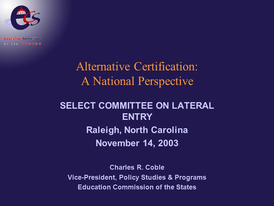 Alternative Certification: A National Perspective