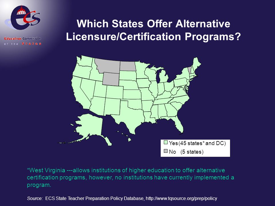 Which States Offer Alternative Licensure/Certification Programs