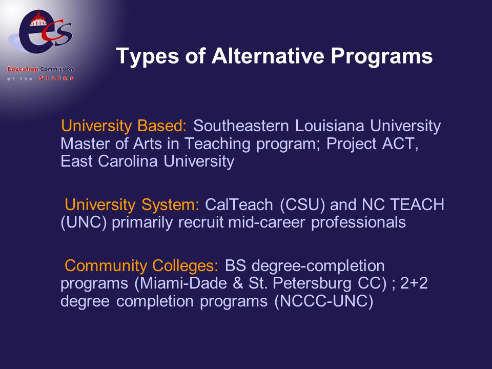 Types of Alternative Programs