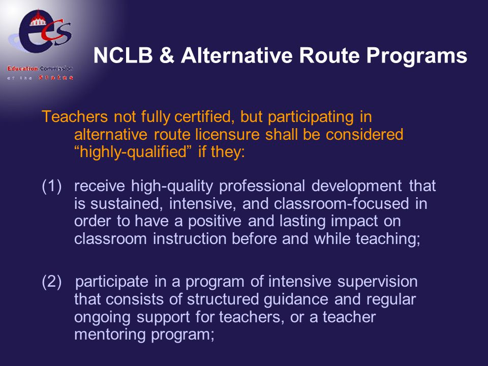 NCLB & Alternative Route Programs
