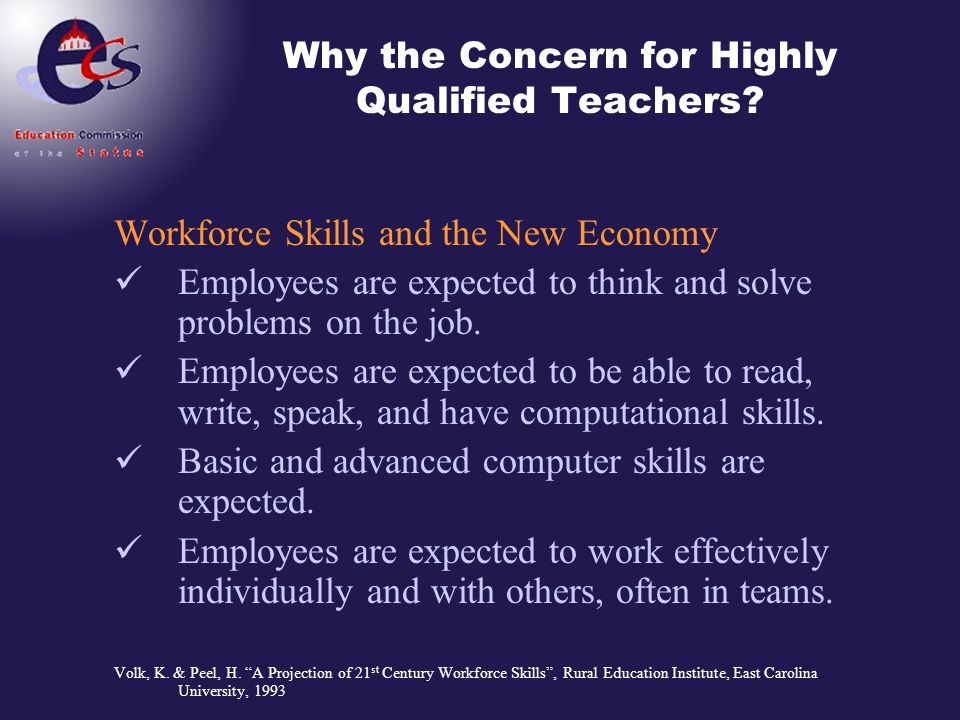 Why the Concern for Highly Qualified Teachers