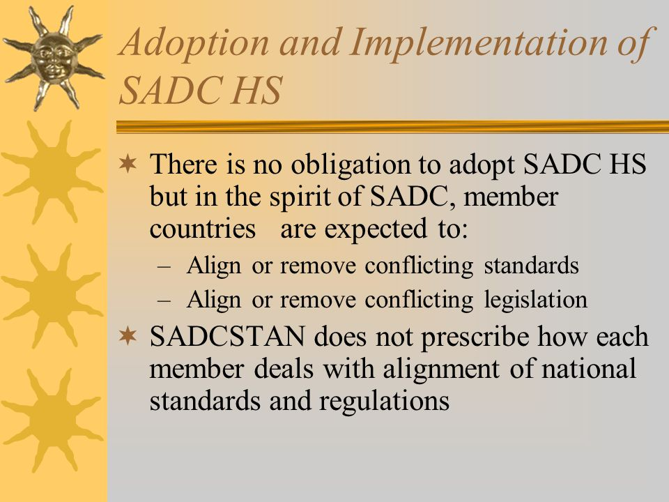 Adoption and Implementation of SADC HS
