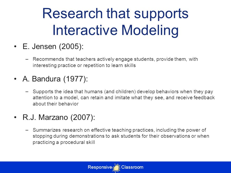 Research that supports Interactive Modeling