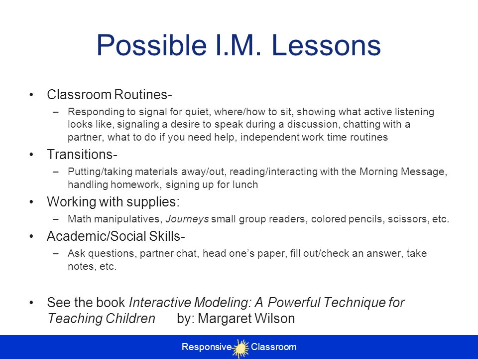 Possible I.M. Lessons Classroom Routines- Transitions-