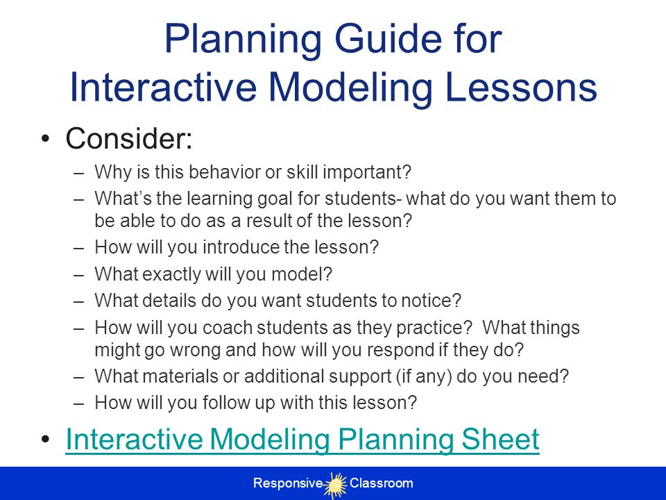 Planning Guide for Interactive Modeling Lessons