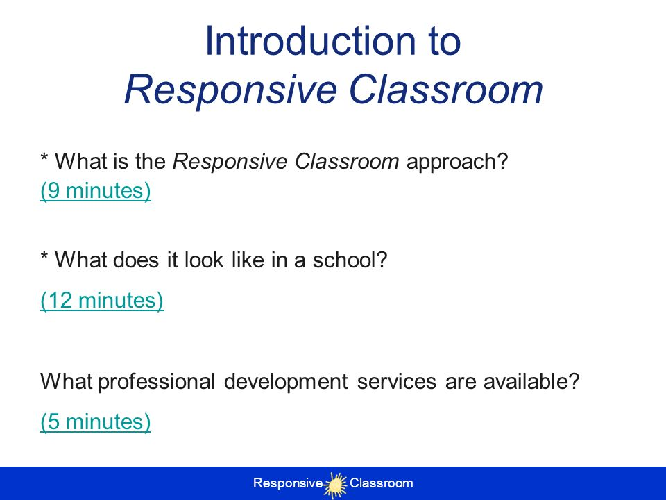 Introduction to Responsive Classroom