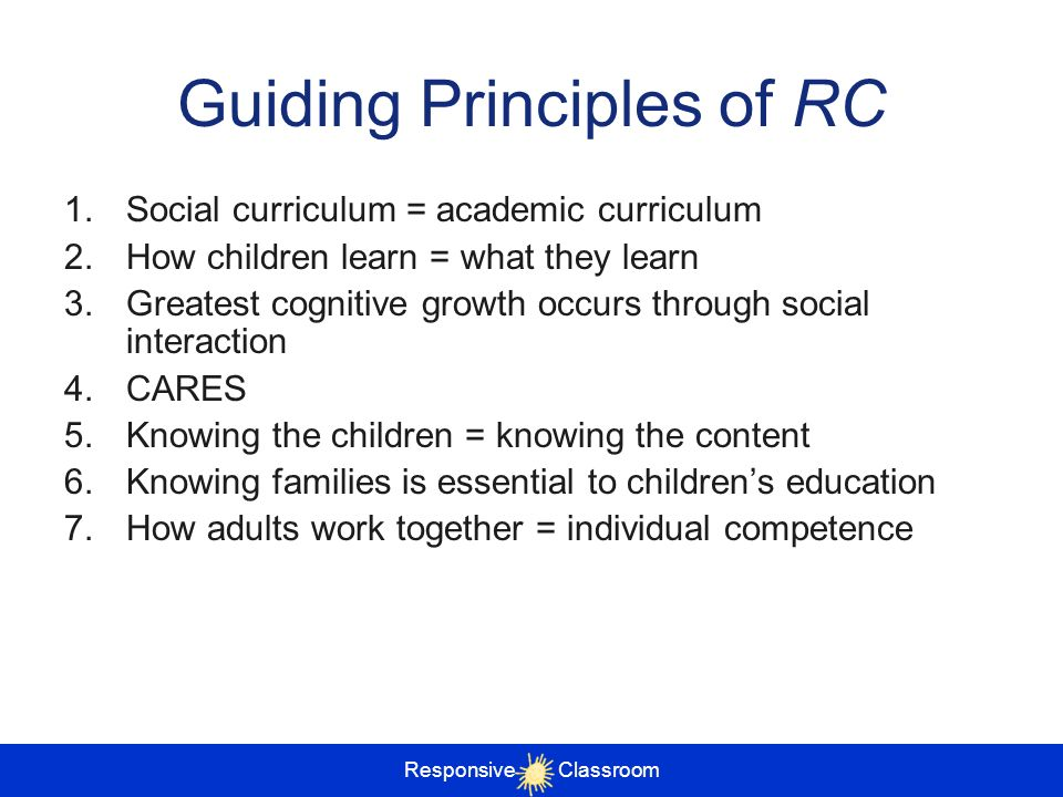 Guiding Principles of RC