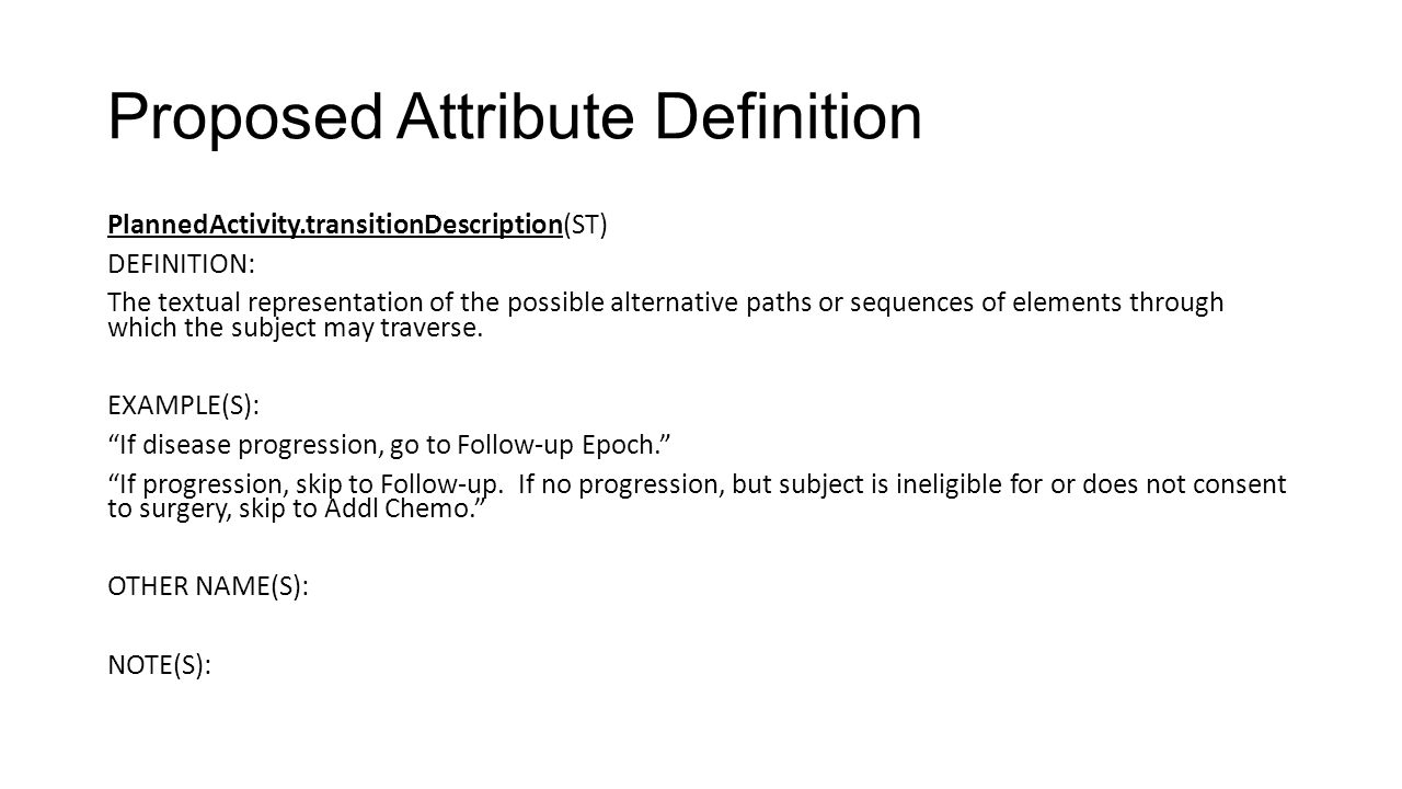 Proposed Attribute Definition