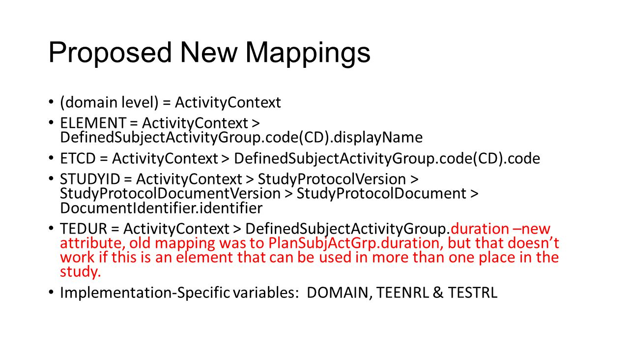 Proposed New Mappings (domain level) = ActivityContext