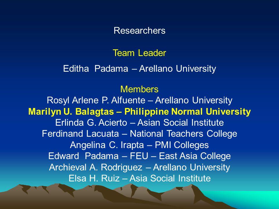 Marilyn U. Balagtas – Philippine Normal University
