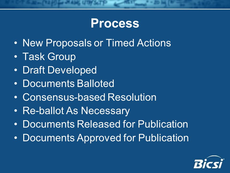 Process New Proposals or Timed Actions Task Group Draft Developed