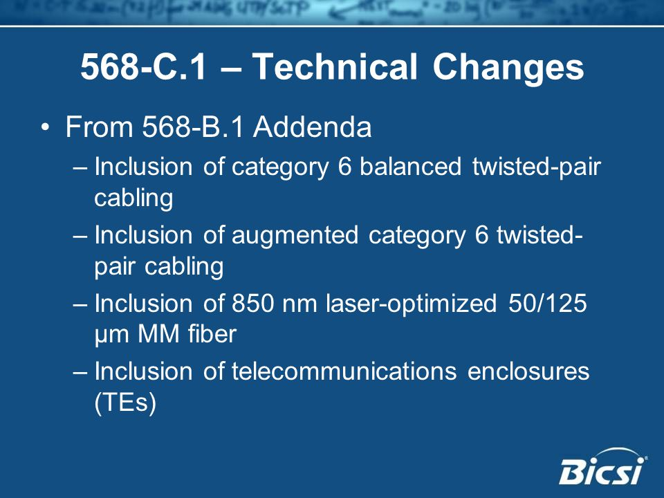 568-C.1 – Technical Changes From 568-B.1 Addenda