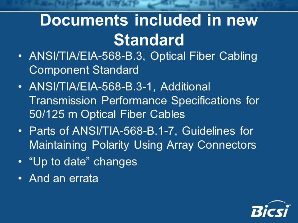 Documents included in new Standard