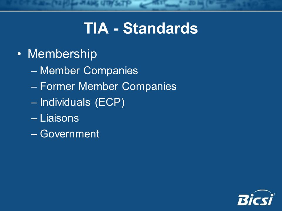 TIA - Standards Membership Member Companies Former Member Companies