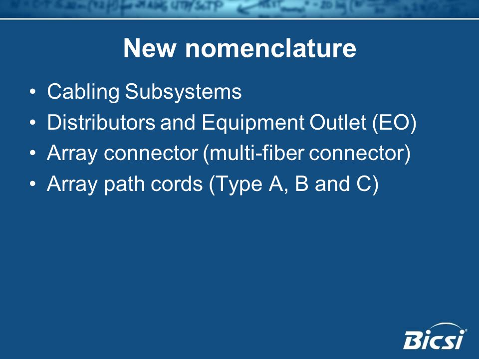 New nomenclature Cabling Subsystems