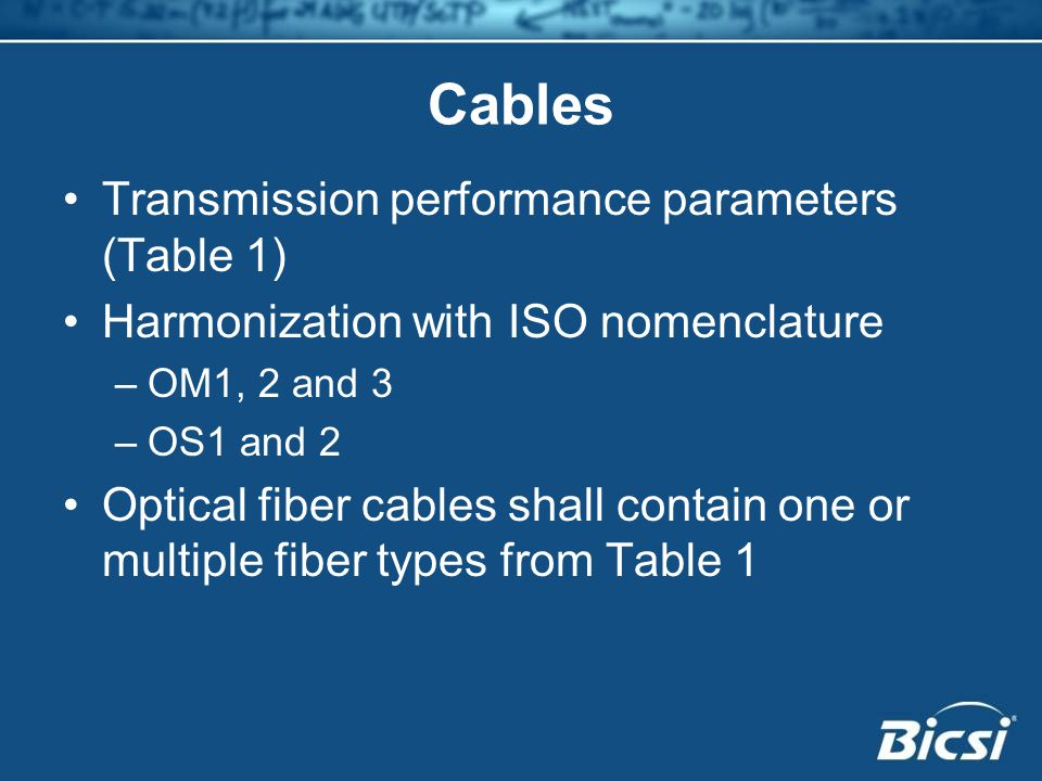 Cables Transmission performance parameters (Table 1)