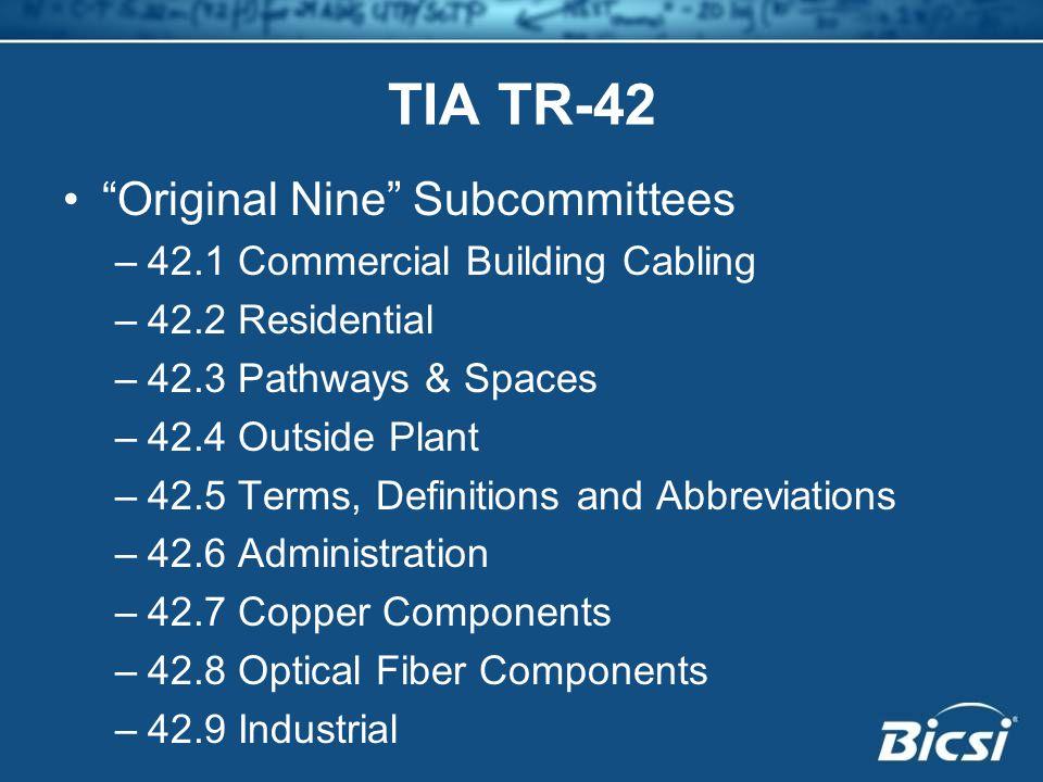 TIA TR-42 Original Nine Subcommittees