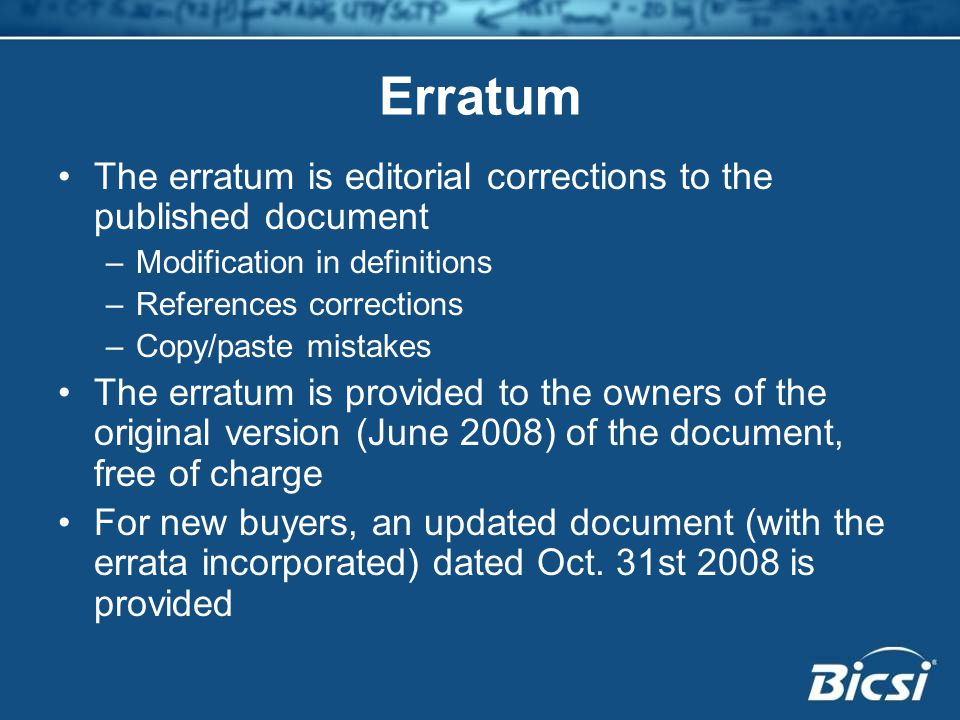 Erratum The erratum is editorial corrections to the published document