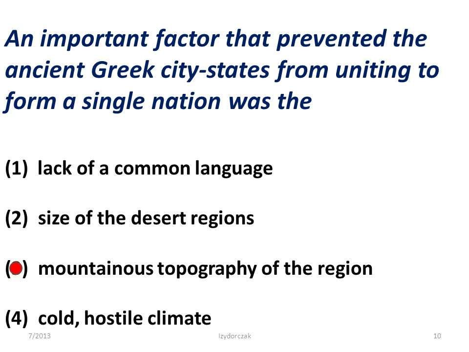 An important factor that prevented the ancient Greek city-states from uniting to form a single nation was the