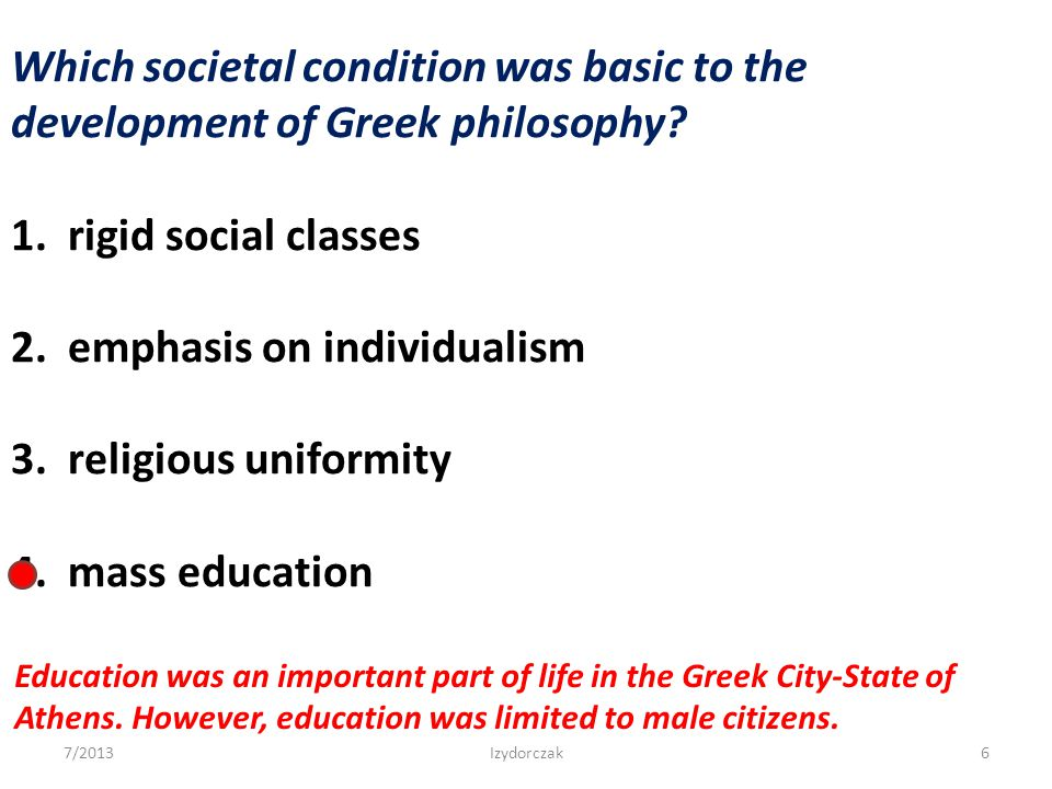 2. emphasis on individualism 3. religious uniformity 4. mass education